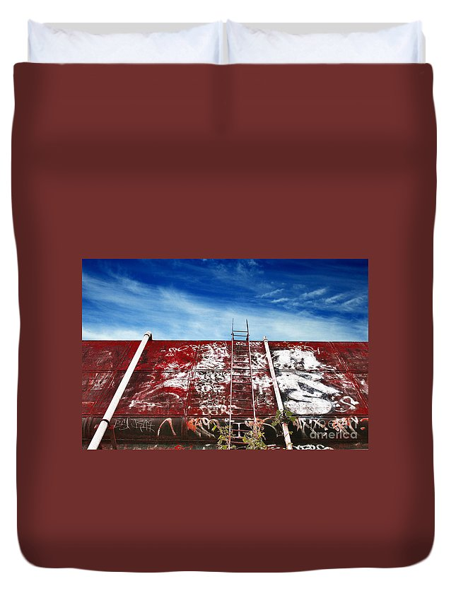 Sky Duvet Cover featuring the photograph Top Of The World by Stephen Mitchell