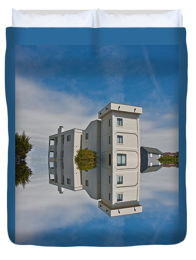 Topsail Duvet Cover featuring the digital art Topsail Island Tower Reflection by Betsy Knapp