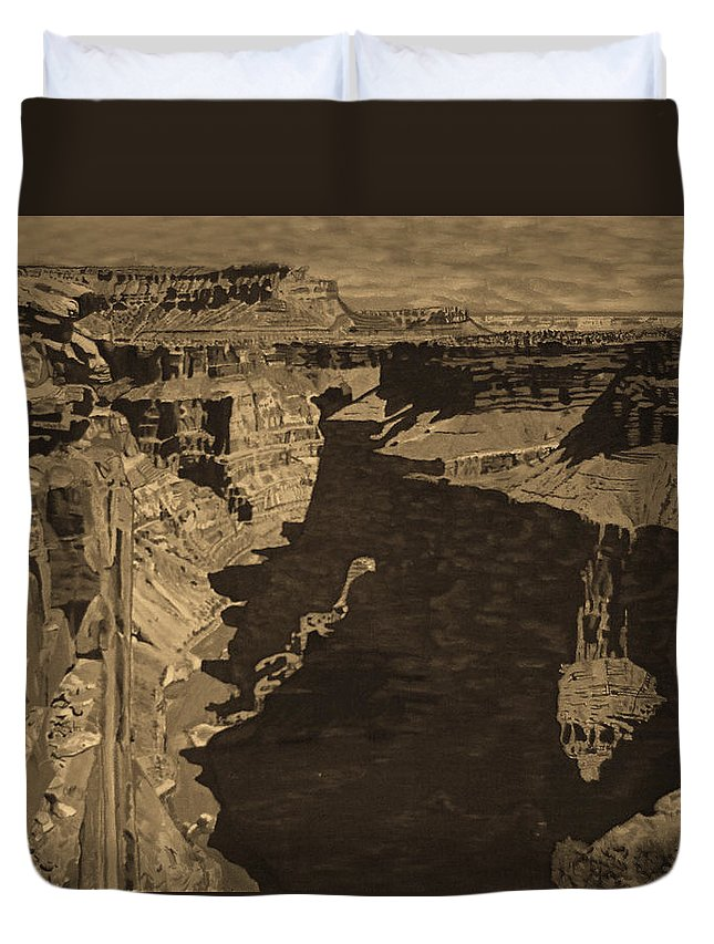 Sepia Duvet Cover featuring the photograph Toroweap Point - Sepia by Rich Walter