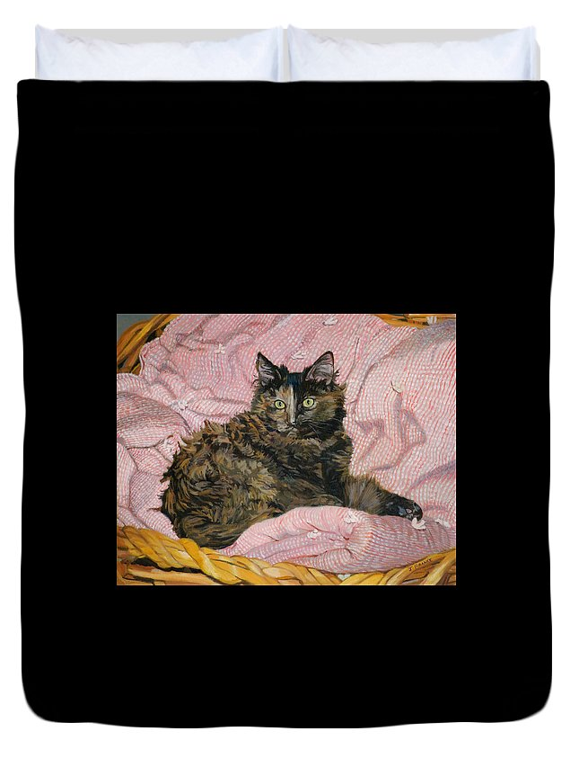 Tortoiseshell Cat Duvet Cover featuring the painting Torti by Joanna Franke