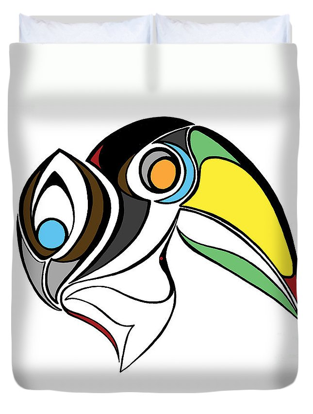 Toucan Duvet Cover featuring the digital art Toucan And Company On White by Alycia Christine