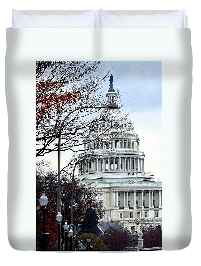 Duvet Cover featuring the photograph Tourist Site by Burney Lieberman