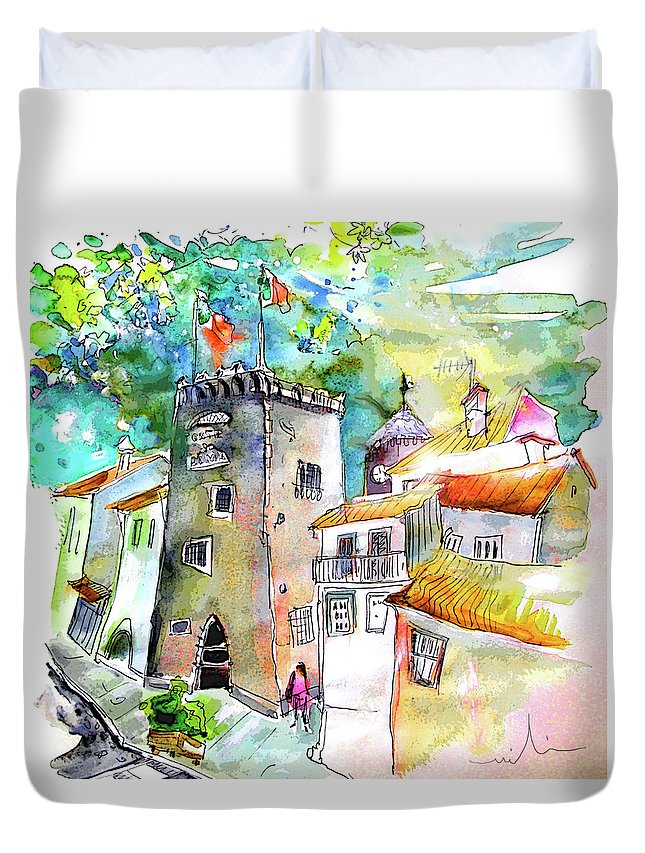 Portugal Duvet Cover featuring the painting Tower in Ponte de Lima in Portugal by Miki De Goodaboom