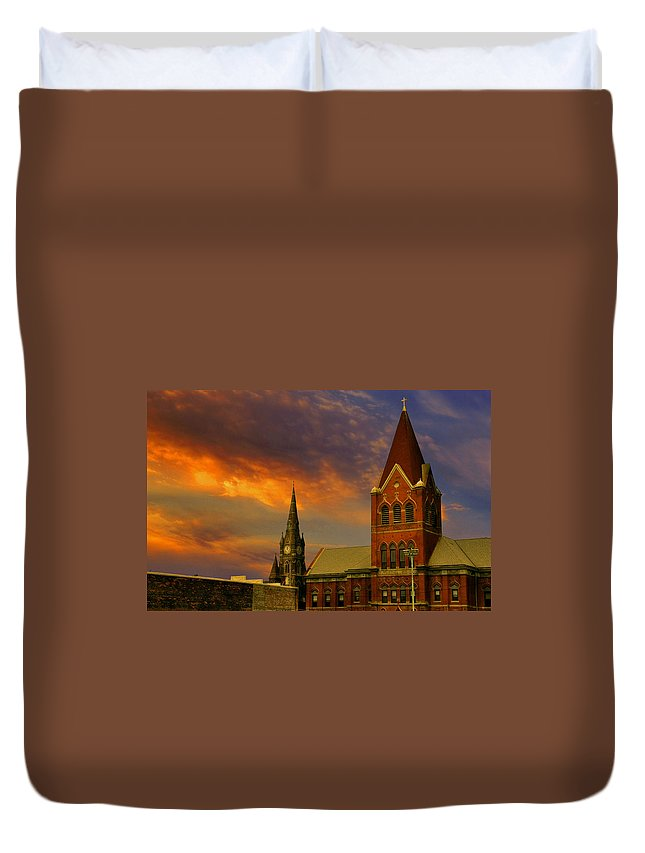 Church Duvet Cover featuring the photograph Towers Of Faith by Brian Fisher
