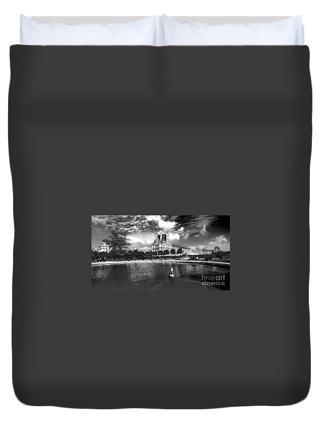 Toy Duvet Cover featuring the photograph Toy Boating In A Parisian Park Bw by Mike Nellums