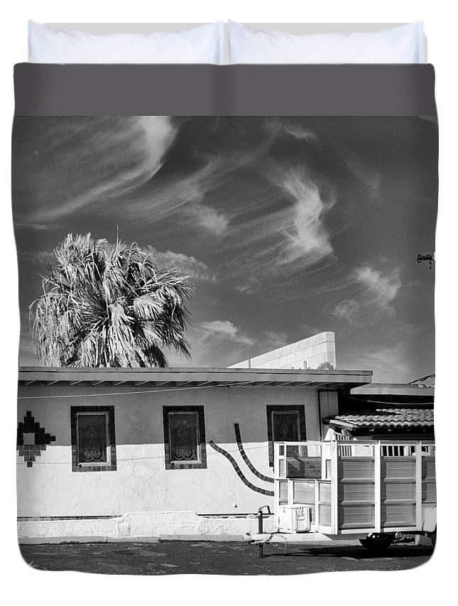 Dhs Duvet Cover featuring the photograph Trailer Town Bw by William Dey