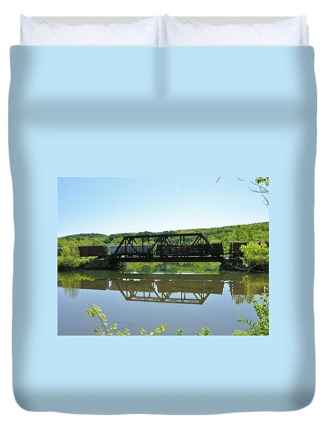 Reflection Duvet Cover featuring the photograph Train And Trestle by Sherman Perry