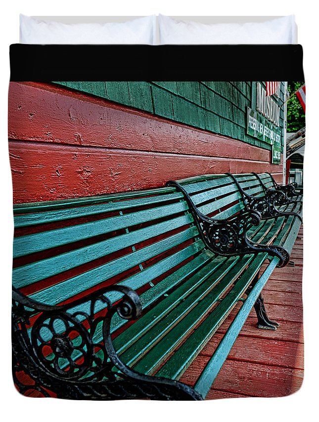 Train Station Duvet Cover featuring the photograph Train Station Waiting Area by Paul Ward