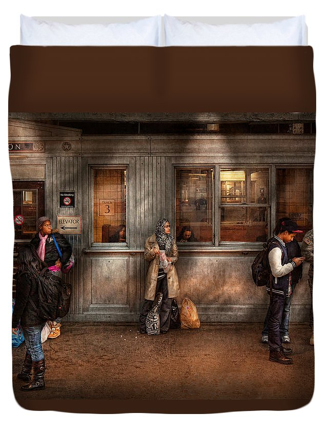 Train Duvet Cover featuring the photograph Train - Station - Waiting For The Next Train by Mike Savad