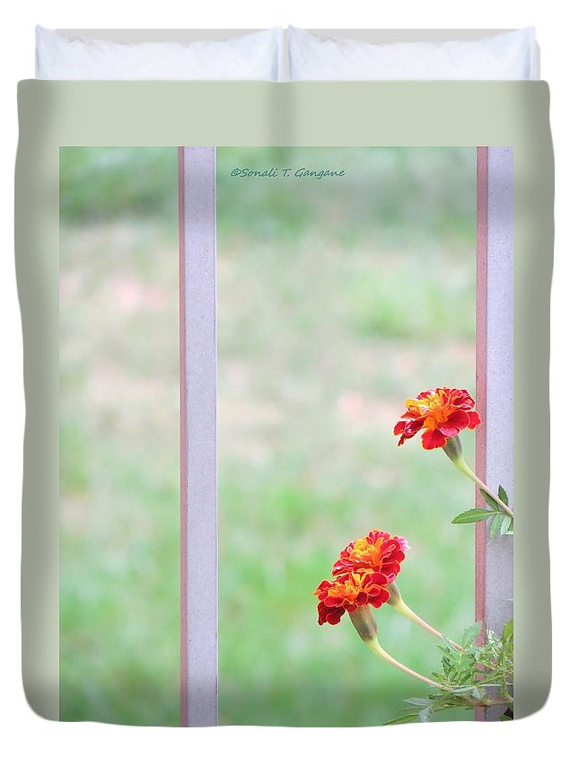 Marigolds Duvet Cover featuring the photograph Tranquil by Sonali Gangane