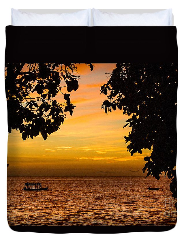 Sailing Duvet Cover featuring the photograph Tranquility Beyond The Trees by Rene Triay Photography