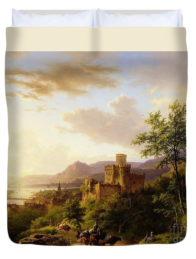 Travellers On A Path In An Extensive Rhineland Landscape Duvet Cover featuring the painting Travellers On A Path In An Extensive Rhineland Landscape by Barend Cornelis Koekkoek