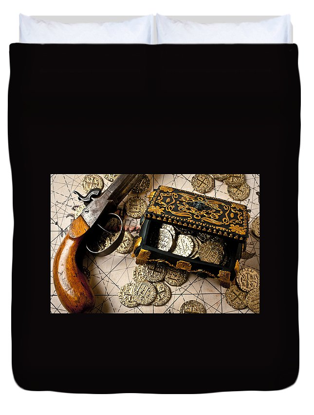 Gun Duvet Cover featuring the photograph Treasure Box With Old Pistol by Garry Gay