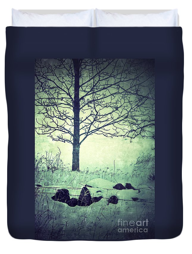 Rural Duvet Cover featuring the photograph Tree And Fence In The Fog And Snow by Jill Battaglia