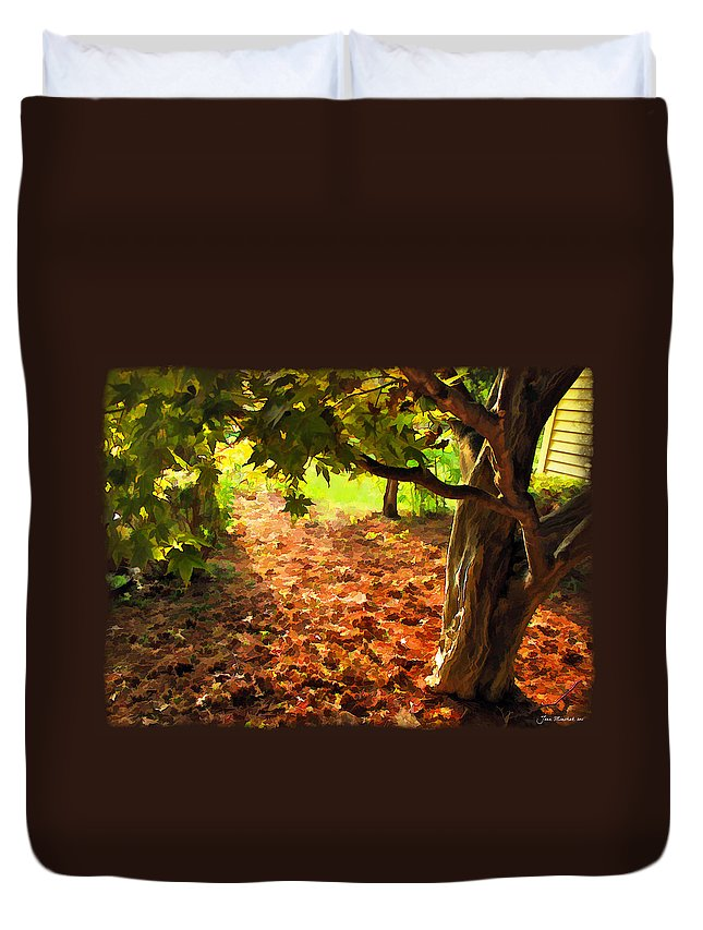 Tree. Shade Duvet Cover featuring the photograph Tree And Shadows by Joan Minchak