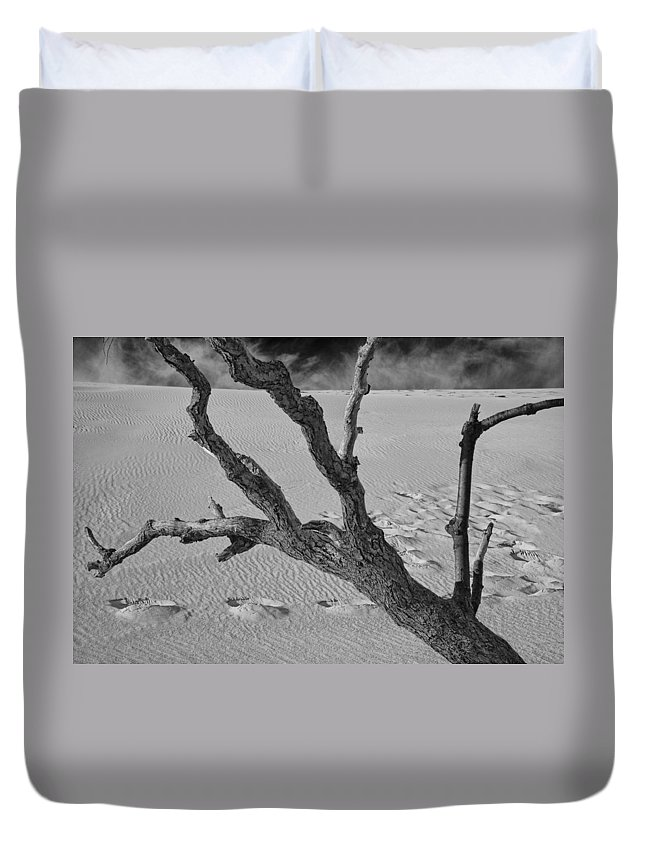 Art Duvet Cover featuring the photograph Tree Branch And Footprints On Sleeping Bear Dunes by Randall Nyhof