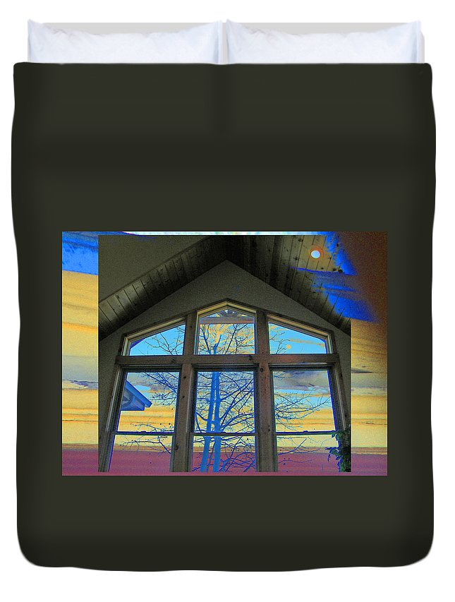 Abstract Duvet Cover featuring the photograph Tree Through The Window by Lenore Senior