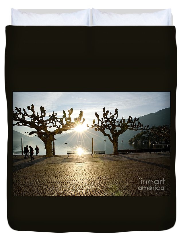 Boat Duvet Cover featuring the photograph Trees And Sunset by Mats Silvan