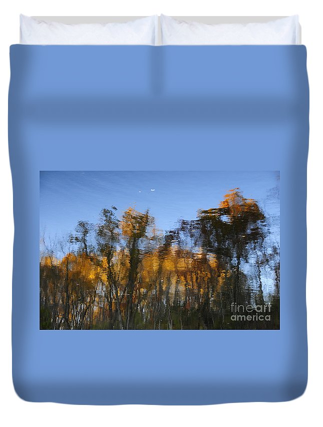 Abstract Duvet Cover featuring the photograph Trees In The Water by David Arment