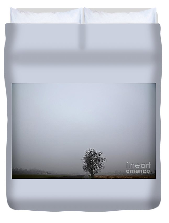 Trees Duvet Cover featuring the photograph Trees On The Road by Mats Silvan