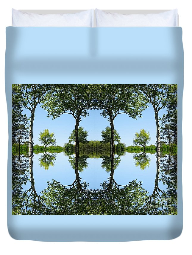 Trees Duvet Cover featuring the digital art Trees Squared by Dale  Ford