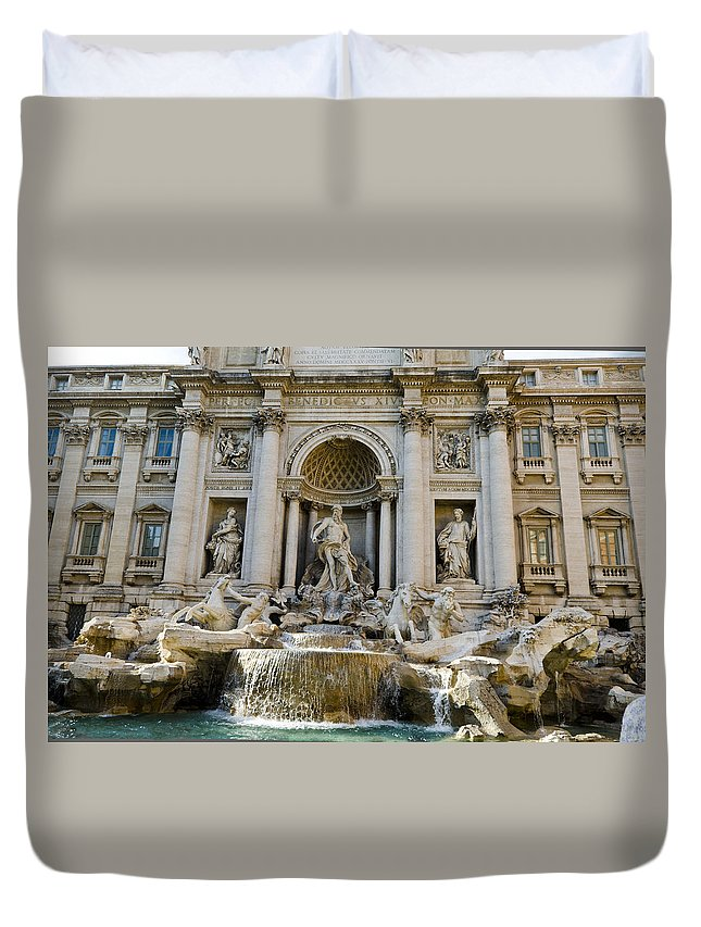 Trevi Fountain Duvet Cover featuring the photograph Trevi Fountain by Jon Berghoff