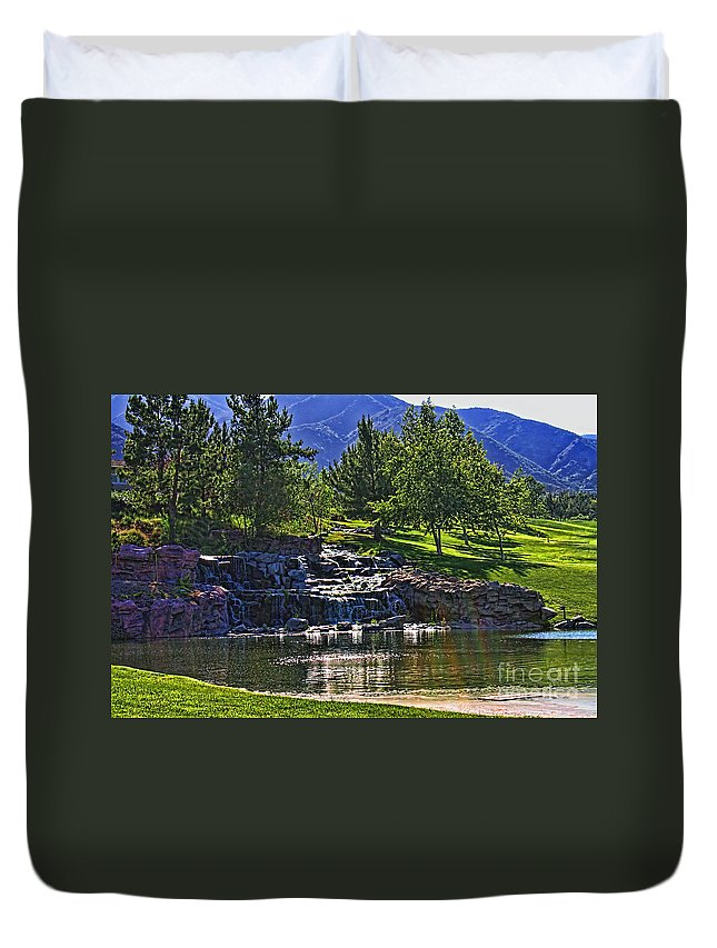 Trilogy Duvet Cover featuring the photograph Trilogy Falls by Tommy Anderson