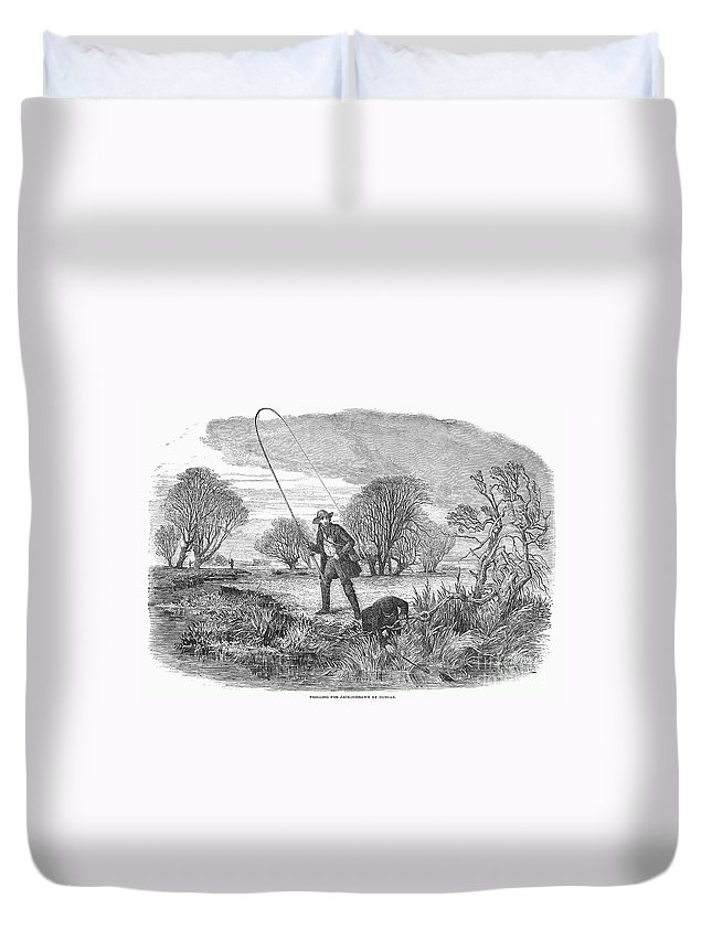 1850 Duvet Cover featuring the photograph Trolling For Jack, 1850 by Granger