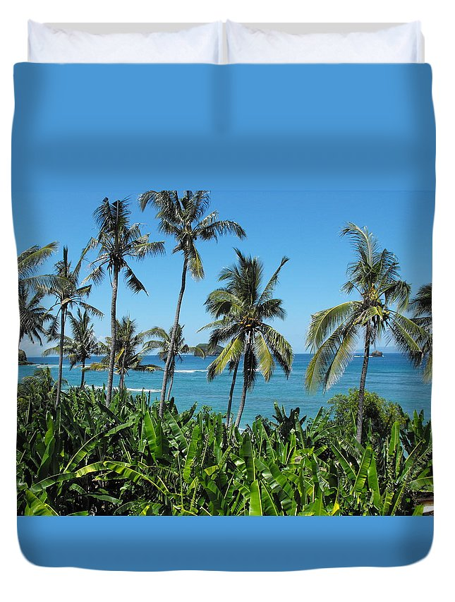 Palm Trees Duvet Cover featuring the photograph Tropical Delight by Marlene Challis