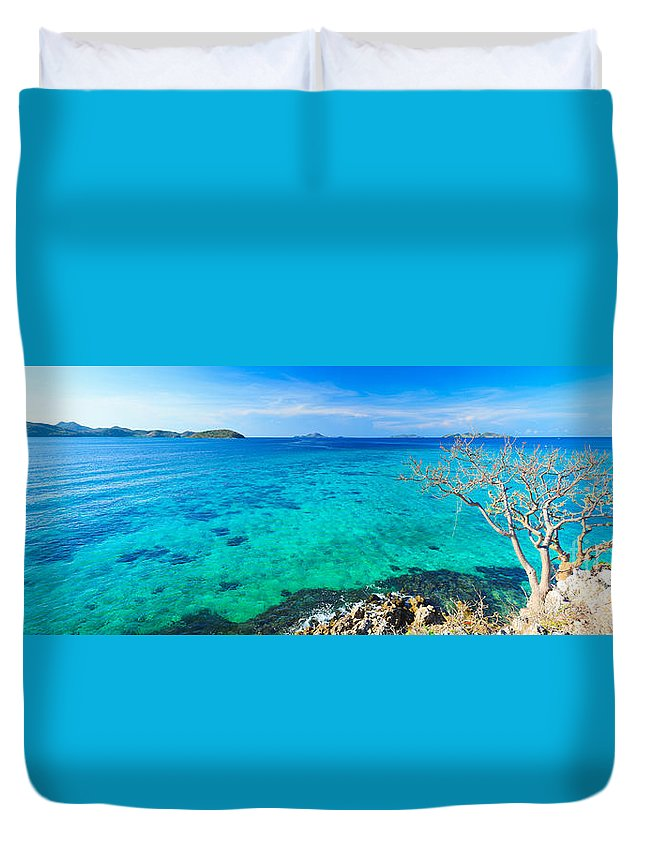 Sea Duvet Cover featuring the photograph Tropical Lagoon Panorama by MotHaiBaPhoto Prints