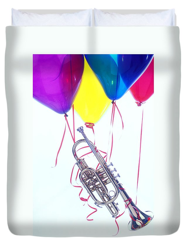 Trumpet Duvet Cover featuring the photograph Trumpet Lifted By Balloons by Garry Gay