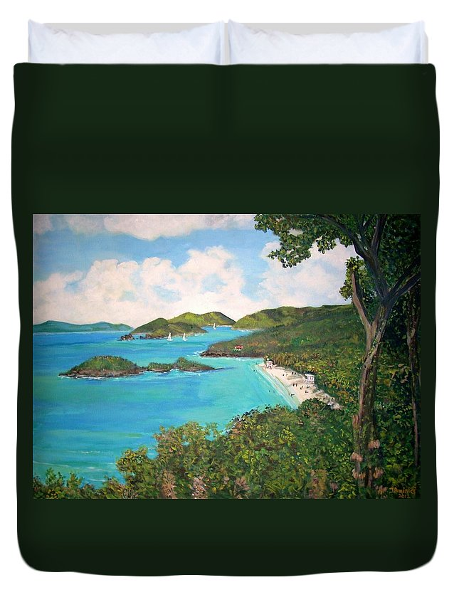 Caribbean Duvet Cover featuring the painting Trunk Bay by Teresa Dominici