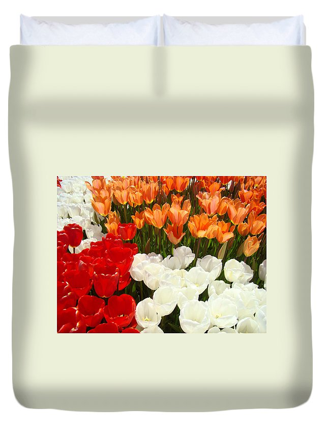 Tulip Duvet Cover featuring the photograph Tulip Flowers Festival Art Prints Floral Baslee by Baslee Troutman