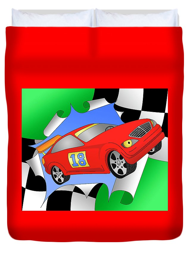 Racing Car Duvet Cover featuring the digital art Turbo by Alison Stein