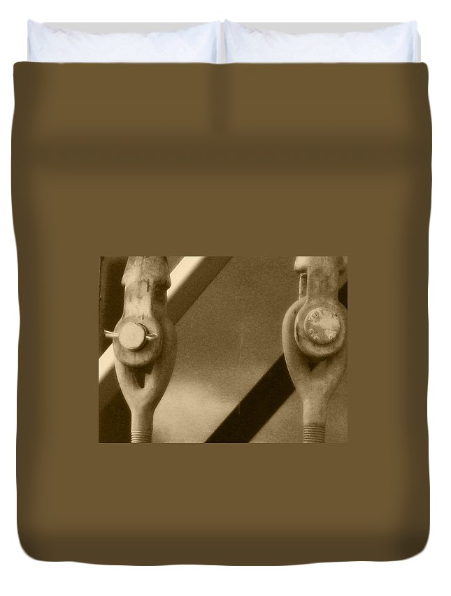 Two Turnbuckles Duvet Cover featuring the photograph Turned On By Turnbuckles by Kym Backland