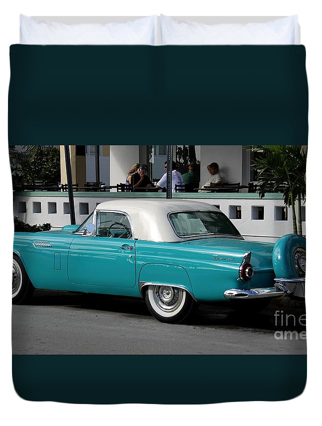 Thunderbird Duvet Cover featuring the photograph Turquoise Thunderbird by Christiane Schulze Art And Photography