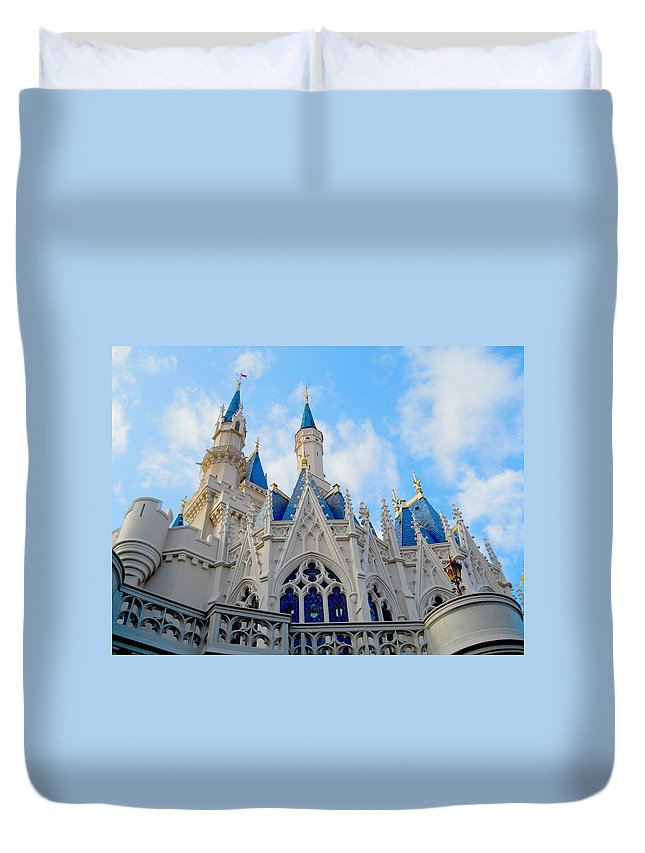 Cinderella Castle Duvet Cover featuring the photograph Turrets And Spires by Rachel Kaufmann