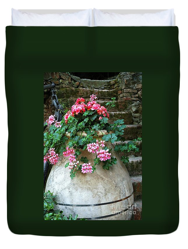 Italy Duvet Cover featuring the photograph Tuscan Earthenware Pot And Flowers by Allen Beatty