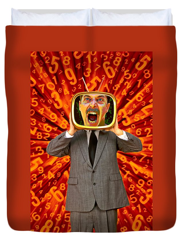 Angry Duvet Cover featuring the photograph Tv Man by Garry Gay