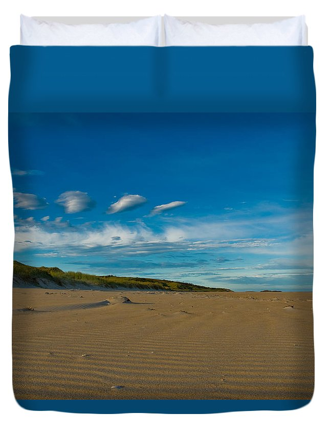 Aqua Duvet Cover featuring the photograph Twilight During A Sunset At A Beach With Beautiful Clouds by U Schade