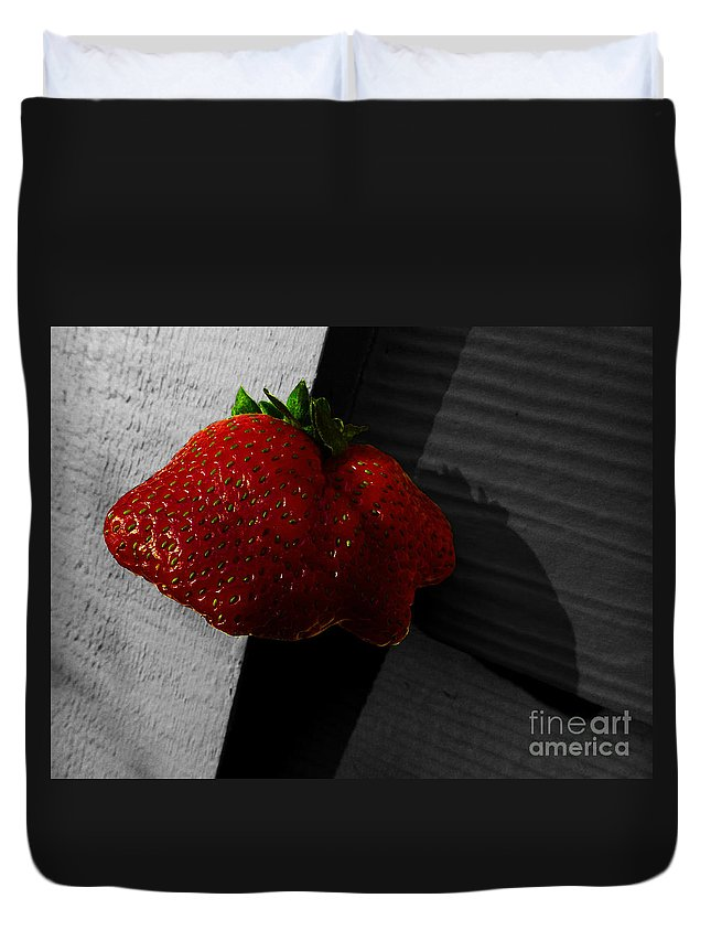 Strawberry Duvet Cover featuring the photograph Twin Hearts by Xueling Zou