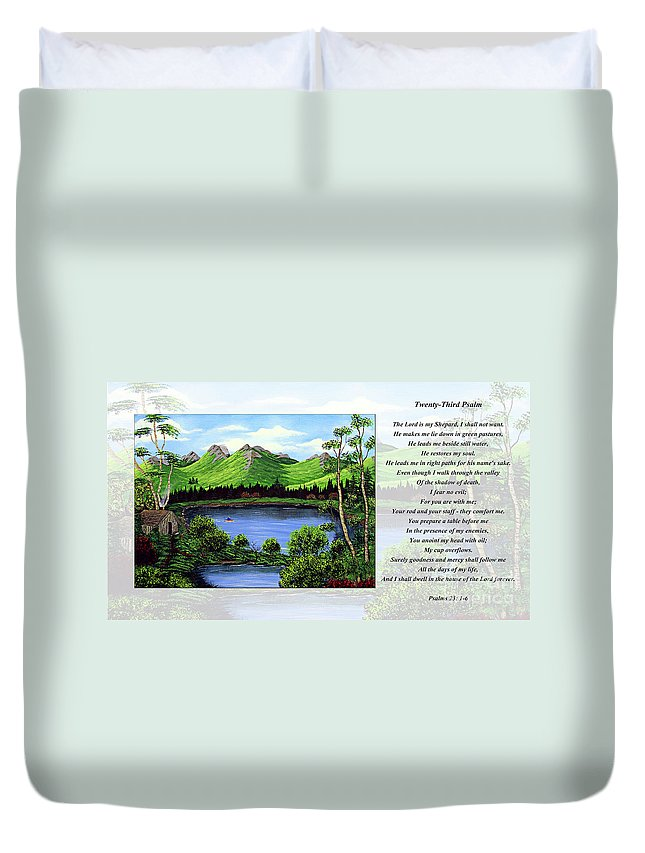 Twenty Third Psalm Duvet Cover featuring the painting Twin Ponds And 23 Psalm On White by Barbara Griffin