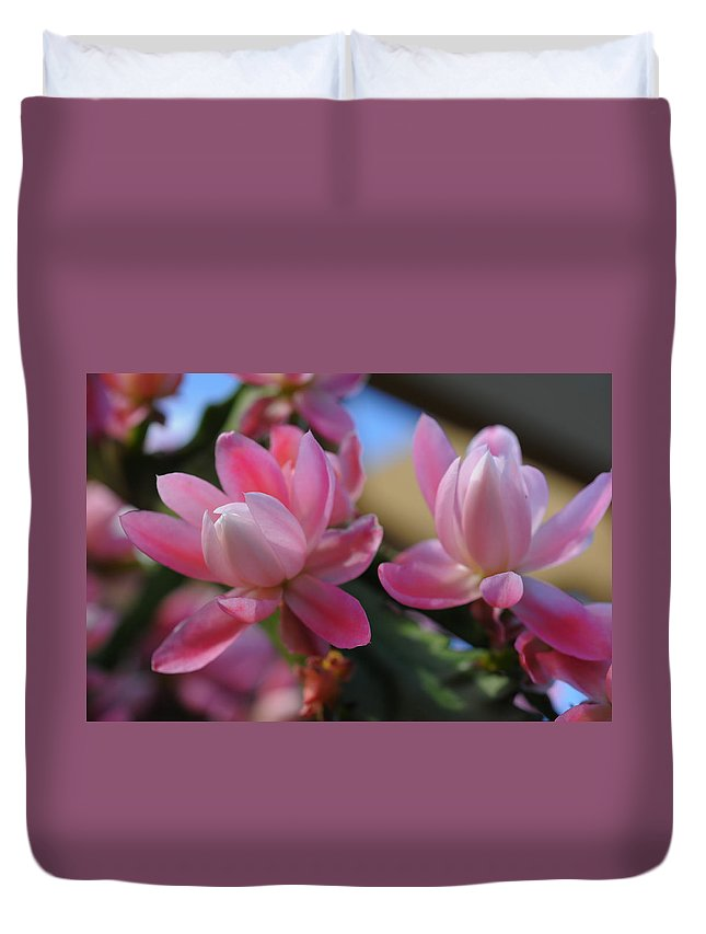 Flower Duvet Cover featuring the photograph Twins by Georgiana Romanovna
