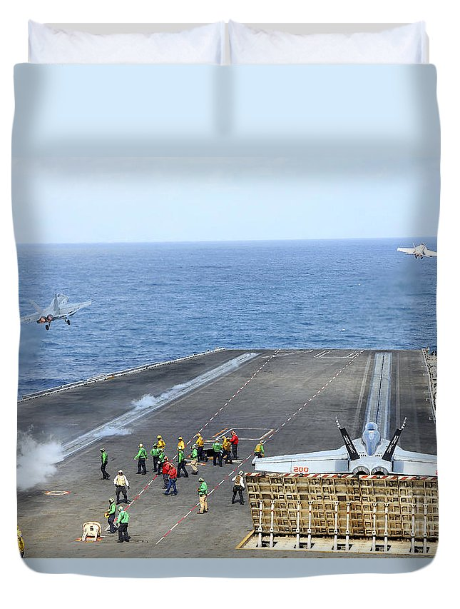 Catapult Duvet Cover featuring the photograph Two Fa-18 Hornets Take by Stocktrek Images