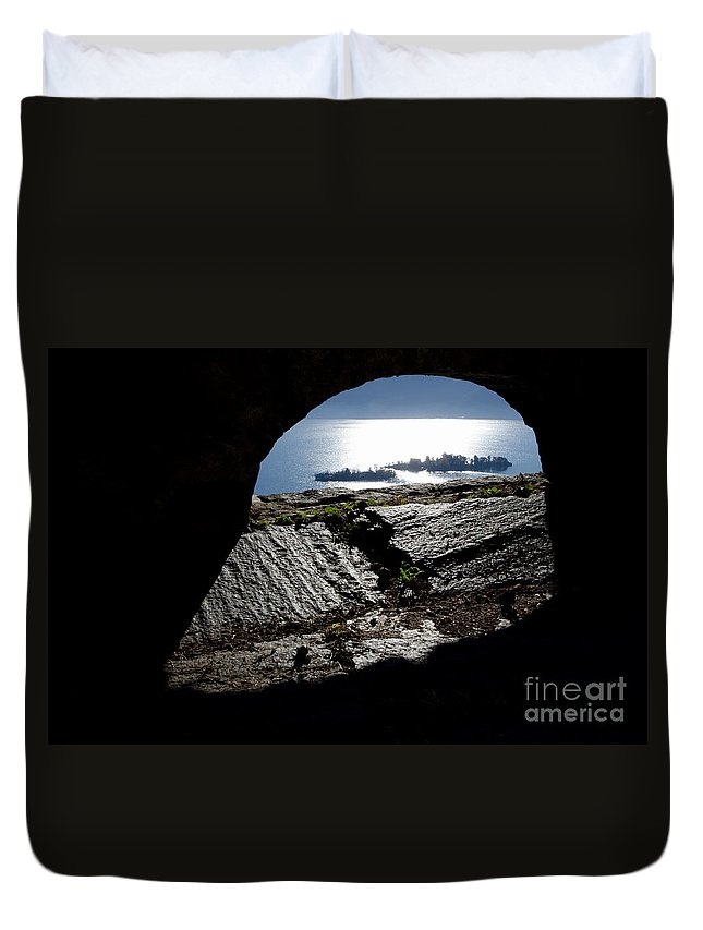 Islands Duvet Cover featuring the photograph Two Islands On A Lake With A Arch by Mats Silvan