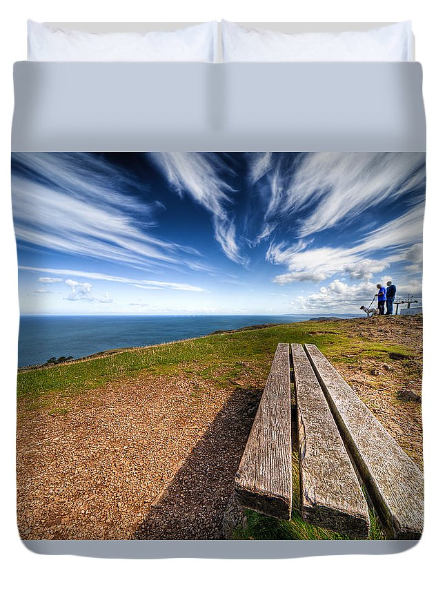 Hdr Duvet Cover featuring the photograph Two Men And A Dog by Adrian Evans