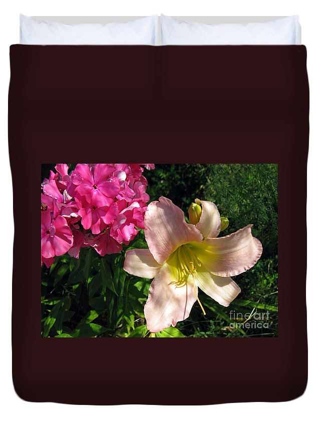 Flower Duvet Cover featuring the photograph Two Pink Neighbors- Lily And Phlox by Ausra Huntington nee Paulauskaite
