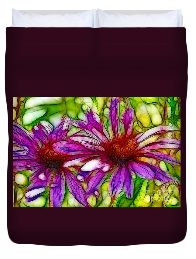 Fine Art Photography Duvet Cover featuring the photograph Two Purple Daisy's Fractal by Donna Greene