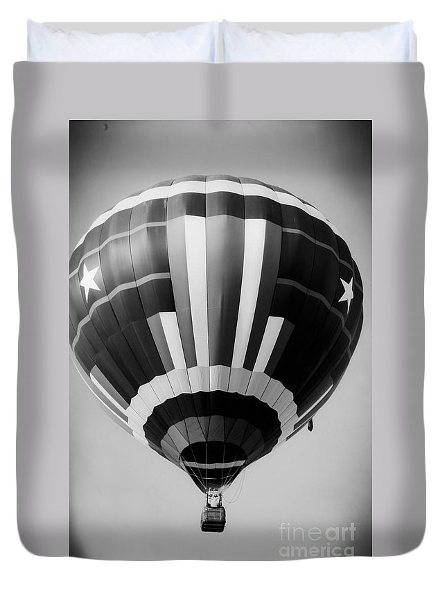 Black And White Hot Air Balloon Duvet Cover featuring the mixed media Two Star Balloon by Kim Henderson