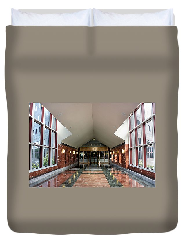 Perspective Duvet Cover featuring the photograph Two World Financial Center by Kristin Elmquist
